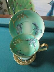 Shofu Japan China Coffee Cup And Saucer In Brass Stand