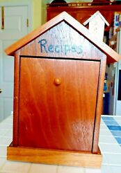 Wood House Recipe Box 3 Sections  Dividers 10.5 X 6.75 X 4.5