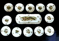 Hand Painted Fish Platter 9 X 22 With 12 Plates 8 1/4 Set 0480 Embossed