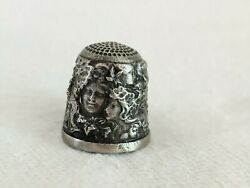 Lovely Vintage Battersea Pewter Thimble 12 Ladies Faces