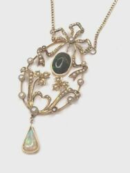 Vintage Seed Pearl And Opal Necklace. Art Deco Birks Stamp