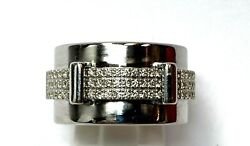 Asprey Keria 18k White Gold And Diamond 12mm Spinning Ring Wide Band Size 55 7.25