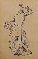 Auguste Roubille - Drawing - Ink - Spanking