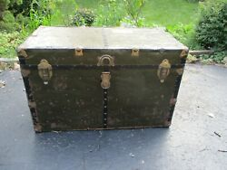 Antique Green Metal And Wood Travel Storage Steamer Chest Trunk Table Top Restore