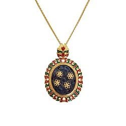 24k Gold Pendant With Natural Blue Sapphire Carving Stone