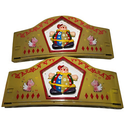 Pair Curved Vintage 20th Century Fairground Fun Carnival Carousel Wall Signs
