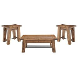 Alaterre Durango Industrial Brown Wood 48 Coffee Table And Two End Tables
