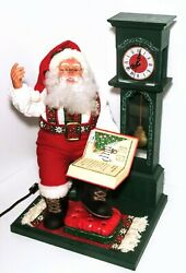 Vintage Santa Claus Animated Motionette Electric Christmas Clock 24 Tested