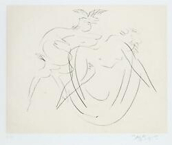 Reuben Nakian, Nymph And Goat 3 Black, Drypoint Etching With Chine Colle, Sign
