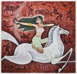 Hua You Zhong, Archer On Horse, Acrylic And Mixed Media On Paper, Signed