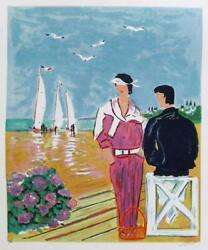Jean Claude Picot Couple At Deauville Lithograph Signed And Numbered In Penci