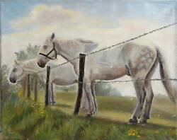 Unknown Artist, Horses At The Fence, Oil On Canvas, Signed 'e. Molevele' L.l.