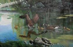Marcel Bordei Sunday Outing Canadian Geese Family Acrylic On Canvas