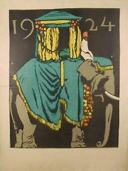 Unknown Artist, Indian Elephant, Poster, Signed Illegibly L.r.