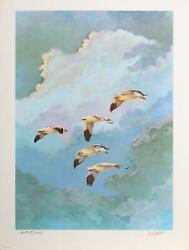 Bill Elliott, Geese In Flight, Lithograph, Signed And Numbered In Pencil