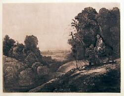 Rembrandt Van Rijn, The Flight Into Egypt Altered From Seghers, Etching