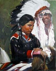 Frances James Native American Chief And Woman Oil On Canvas Signed Lower Righ
