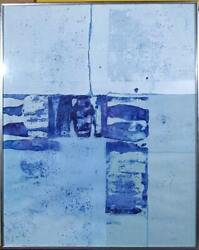 S. Szlenko, Untitled - Blue Abstract, Acrylic On Paper, Signed