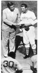 Unknown Artist Babe Ruth Crowns Carl Hubbell 1936 Mvp Reproduction Photograph