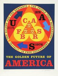 Robert Indiana, Golden Future Of America, Screenprint, Signed And Numbered In Pe
