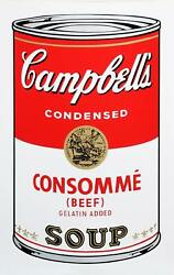 Andy Warhol, Campbell's Soup Can Consomme Beef, Sunday B. Morning Screenprint