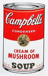 Andy Warhol, Campbell's Soup Can Cream Of Mushroom, Screenprint By Sunday B Mor