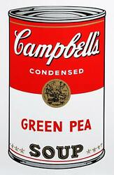 Andy Warhol, Campbell's Soup Can Green Pea, Sunday B. Morning Screenprint, Stam