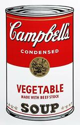 Andy Warhol, Campbell's Soup Can Vegetable, Screenprint, Sunday B. Morning Stam
