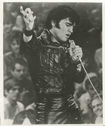 Unknown Artist Elvis In Black Leather Reproduction Photograph