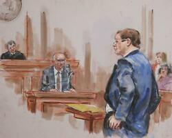 Marshall Goodman, Courtroom 140, Watercolor On Paper
