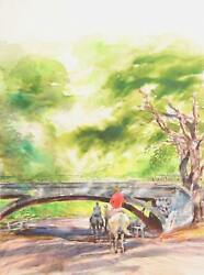 Marshall Goodman, Horse Riding Through Central Park, Watercolor On Paper