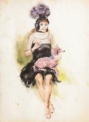 Marshall Goodman, Dancer With Pink Poodle, Watercolor On Paper