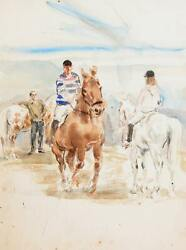 Marshall Goodman Riding Class Watercolor On Paper