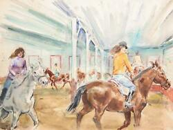 Marshall Goodman, Indoor Riding Class, Watercolor On Paper