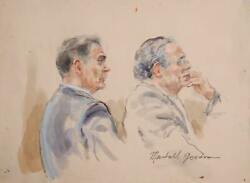 Marshall Goodman, Untitled - Two Figures, Two Men Right Profiles., Marker, Penci