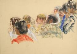 Marshall Goodman, Untitled - Ten Jurors, Woman In Red In Foreground, Marker, Pen