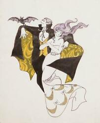 Marshall Goodman, Vampire And Woman In Cape, Watercolor On Paper