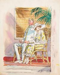 Marshall Goodman, Couple On Tropical Porch 421, Watercolor On Paper