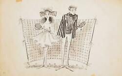 Marshall Goodman Tennis Couple / Peter Painter Double Sided Ink On Paper Sign