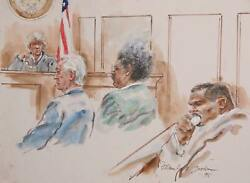 Marshall Goodman Courtroom 316-don King Watercolor On Paper Signed