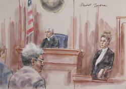 Marshall Goodman Courtroom 320-don King Watercolor On Paper Signed