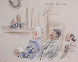 Marshall Goodman Courtroom 324-don King Watercolor On Paper Signed