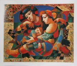 Oleg Zhivetin Resting Family Screenprint Embellished Signed And Numbered In