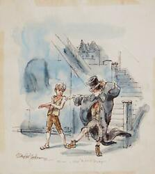 Marshall Goodman Illustration For Oliver 394 Watercolor On Paper Signed