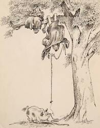 Marshall Goodman Pig With Monks In Tree Watercolor And Ink On Paper Signed
