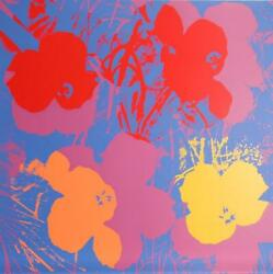 Andy Warhol Flowers 5 Screenprint Sunday B. Morning Stamp In Blue Verso