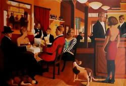 Unknown Artist Restaurant Interior With Dogs Screenprint Signed In Pencil
