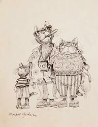 Marshall Goodman Vacationing Cat Family Ink On Paper Signed