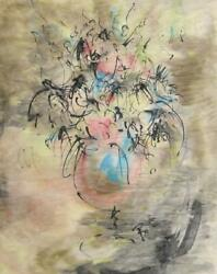 Bettin, Untitled - Vase Of Flowers, Ink And Watercolor On Paper, Signed Lr
