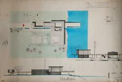 Unknown Artist, Mid-century Modern Home Design, Ink And Watercolor On Paper, Sig